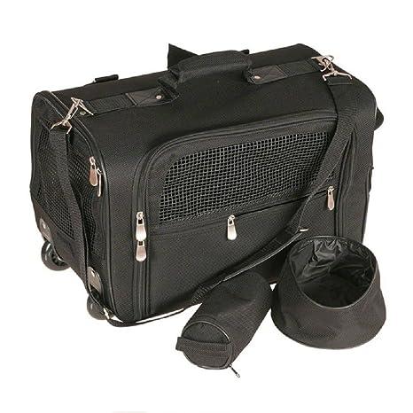 Pet carrier con ruedas carrito de viaje con correa para el hombro mochila