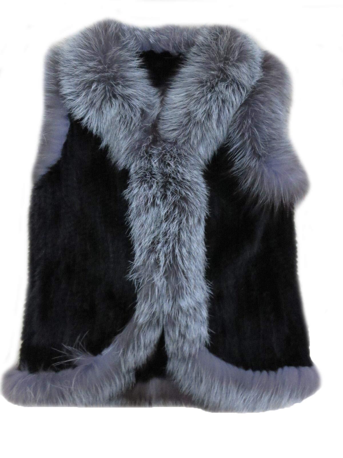 Women's Elegant Real Mink Fur Vest With Sliver Fox Fur Collar (Mink Fur + Sliver Fox Fur Vest)