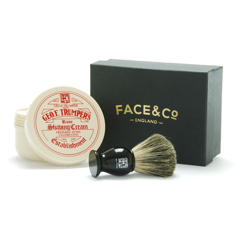 Geo F Trumper Black, Pure Badger Shaving Brush & Rose Shave Cream Gift Set Face & Co