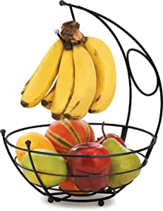 Xllent® Kangroo Fruit Basket Stainless Steel with Banana Holder,Elegant Fruit Bowl with Banana Tree Hanger Dining Table, Fruit Bowl - 1 Piece/Size 26.5 * 26.5 * 34CM