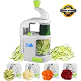 Zalik Spiralizer 4 IN 1 Blade Dial - Small Professional Vegetable Slicer With Powerful Suction Base - Heavy Duty Veggie Pasta Spaghetti Maker For Low Carb/Paleo/Gluten-Free Meals