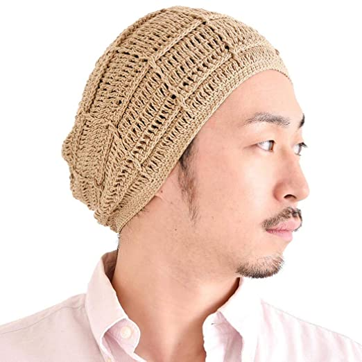 cba8bbbe7ee CHARM Mens Summer Beanie Cotton - Womens Crochet Slouch Cap Hand Made Chemo  Hat Beige