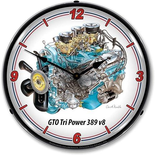 Pontiac GTO Tri Power 389 V8 LED Wall Clock