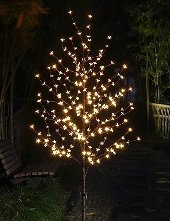 amazoncom lightshare 6 feet cherry blossom lighted tree 208 led lights warm white for christmas tree party wedding and more festival deoration home