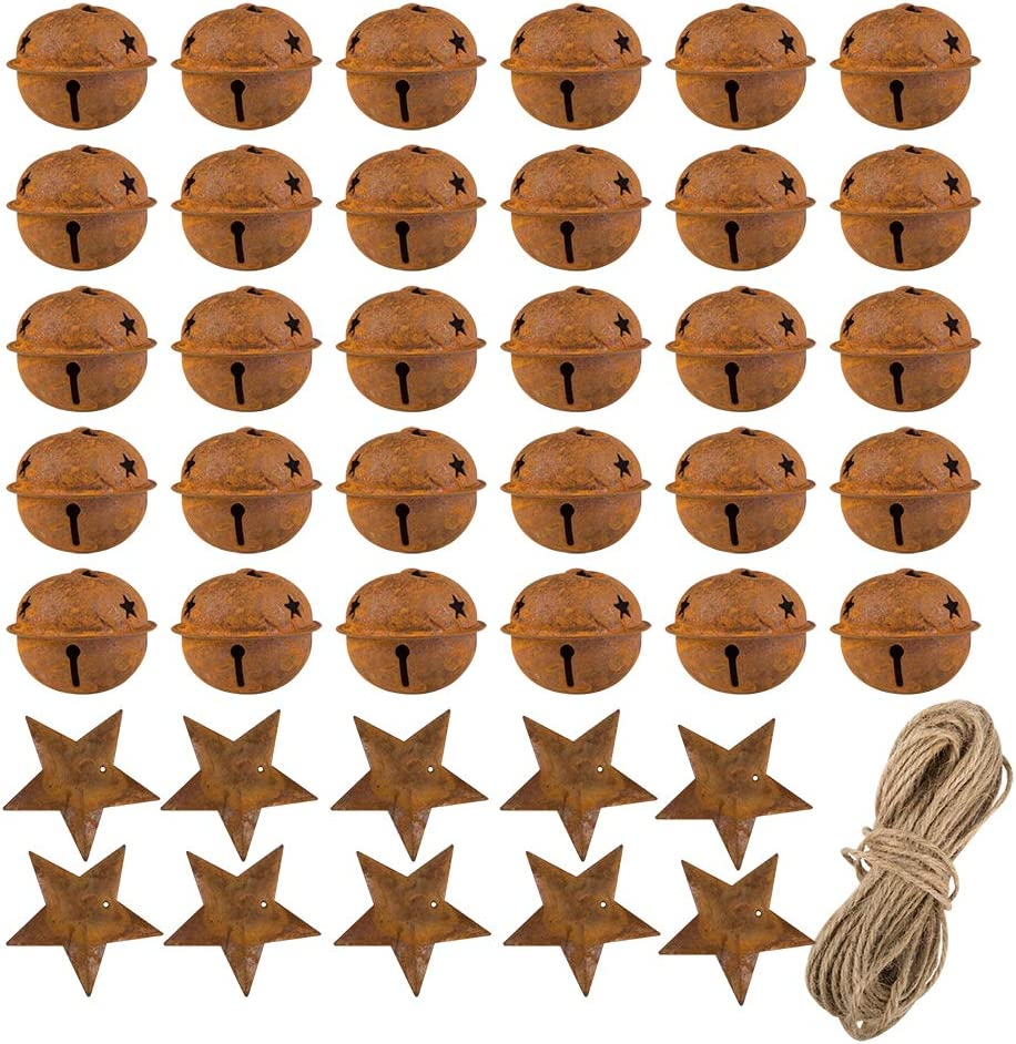 30 Pcs Christmas Rustic Metal Bells,Sonku 1.57 Inches Craft Bells with Star Cutouts with 10 Pcs Rusty Metal Stars and Twine for Christmas Craft Decoration Supplies Holiday Embellishing