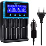 Keenstone 18650 Cargador Batería Universal, Cargador Pilas AA y AAA con Pantalla LCD para Baterías Recargables Ni-MH Ni…