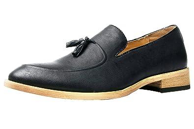 3e8fda41c32 Santimon Men s Loafers Pointed Toe Dress Shoes Tasseled Slip On Slipper Oxfords  Black 5 D(