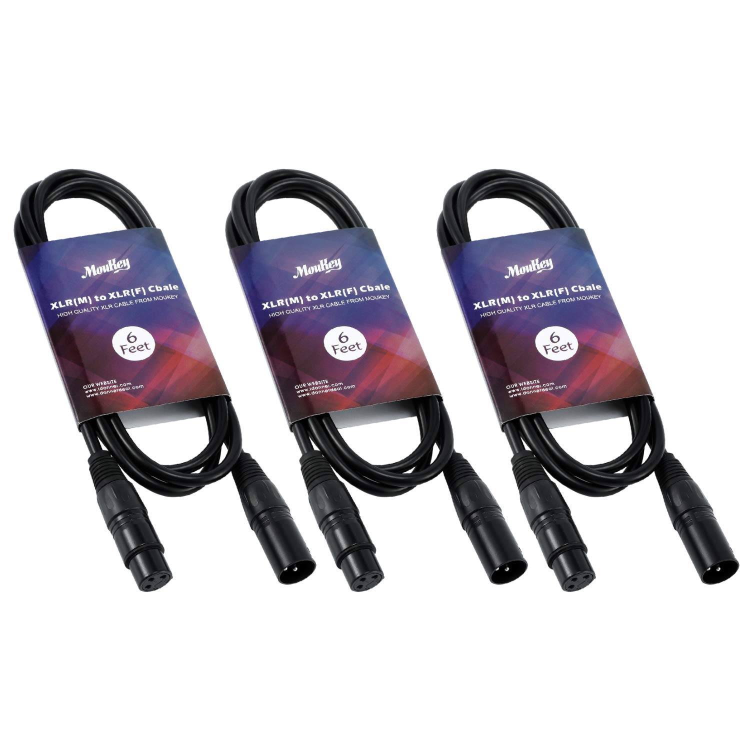 Moukey 6 Feet XLR Cable Male to Female Cord 6ft Microphone Cables 3-Pack for Audio Black