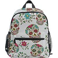 MASSIKOA Sugar Skull Flower Lightweight Travel School Backpack for Boys Girls Kids