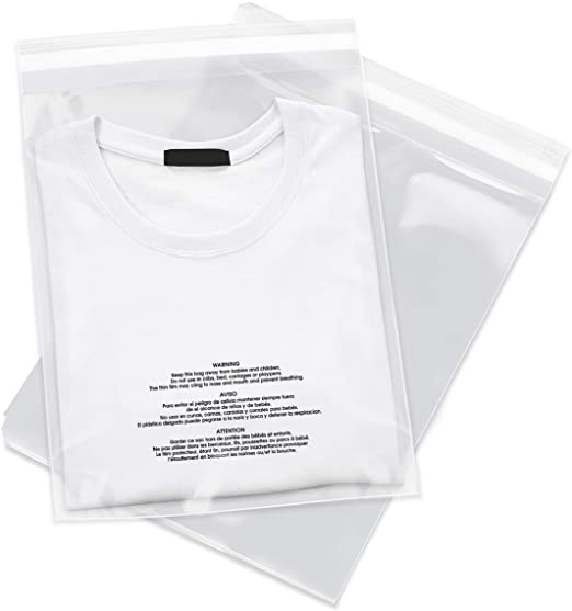 100-8 x 10 Clear Poly Self Seal Suffocation Warning Plastic Bags for Shirts Apparel Jerseys 8x10