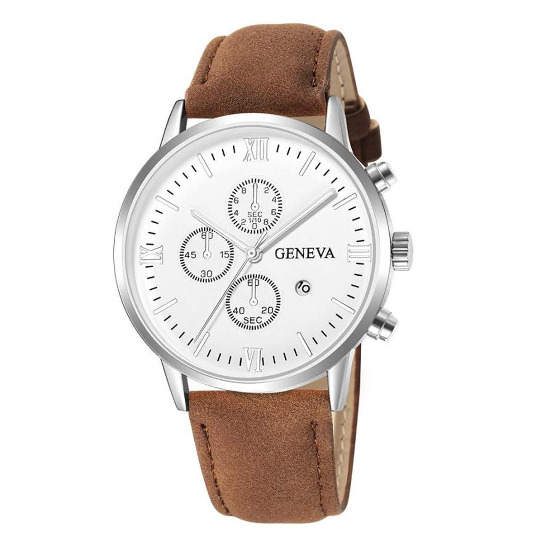 Amazon.com : SUPERON Relojes reloj Hombre Watch Men Luxury Fashion Faux Leather Mens Blue Ray Glass Quartz Analog Sports Watches with Calendar(A, ...