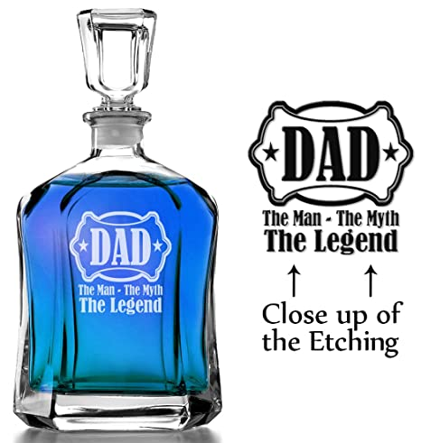 70fe033c5 The Man, Myth, Legend Personalized Dad in Shield Whiskey Decanter Custom Man  Cave Liquor