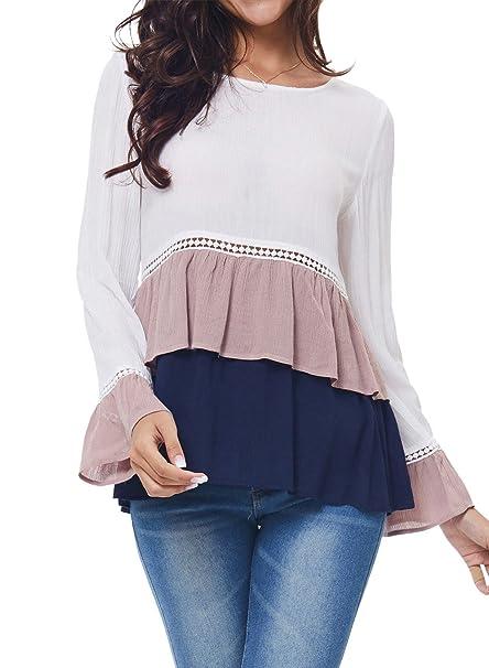 Kinikiss Mujer Camisas de Vestir Otoño Manga Larga Elegante Moda Round Collar Blusa T-shirt