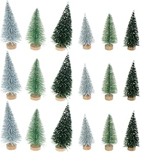 IYSHOUGONG 30 Pcs Artificial Mini Sisal Christmas Tree Mini Pine Tree with Wood Base Home Table Top Decor Christmas Ornaments