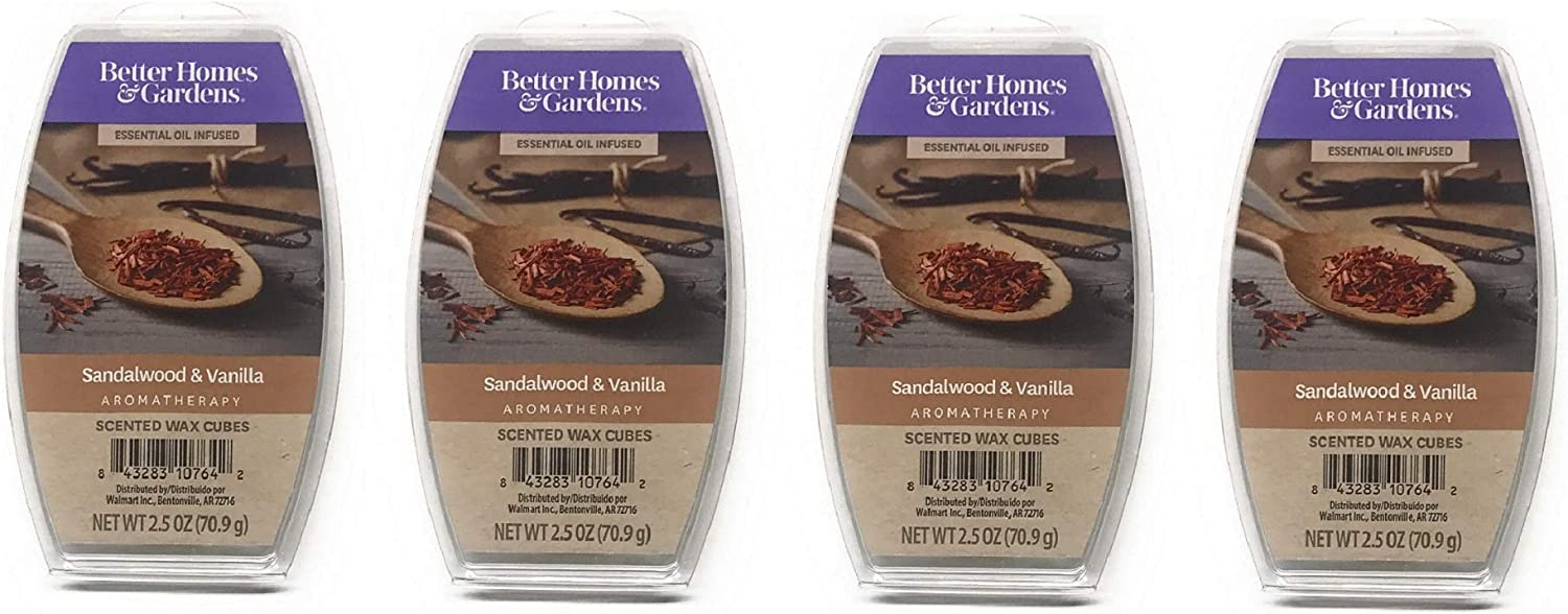 Better Homes & Gardens Aromatherapy Essential Oil Infused Wax Melts - 2.5 OZ - 4 Pack (Sandalwood & Vanilla)