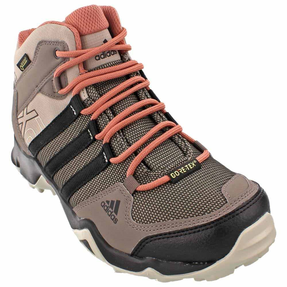 adidas outdoor Women's AX2 Mid Gore-TEX Hiking Boot, Vapour Grey/Black/Raw Pink, 8 M US