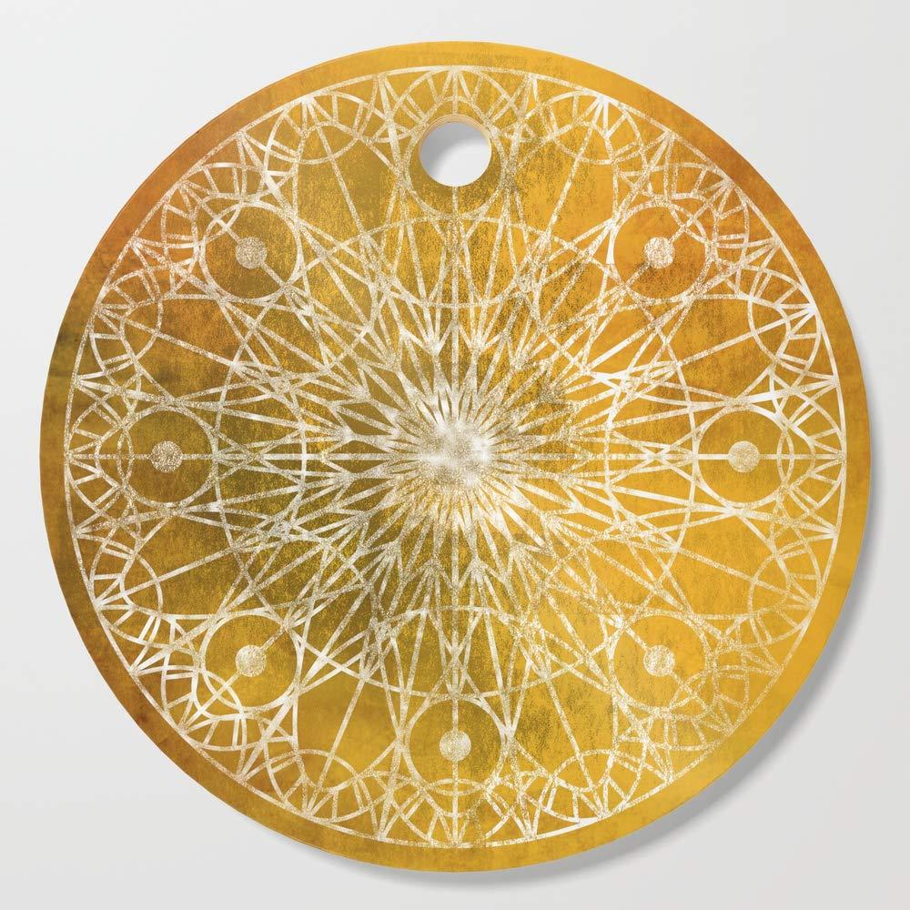 Society6 Wooden Cutting Board, Round, Rosette Window - Yellow by erikfoxjackson