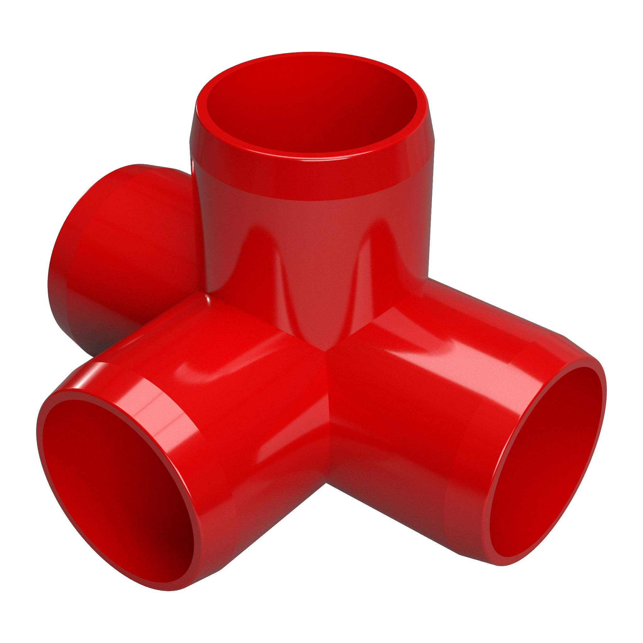 FORMUFIT F1144WT-RD-4 4-Way Tee PVC Fitting, Furniture Grade, 1-1/4'' Size, Red (Pack of 4)