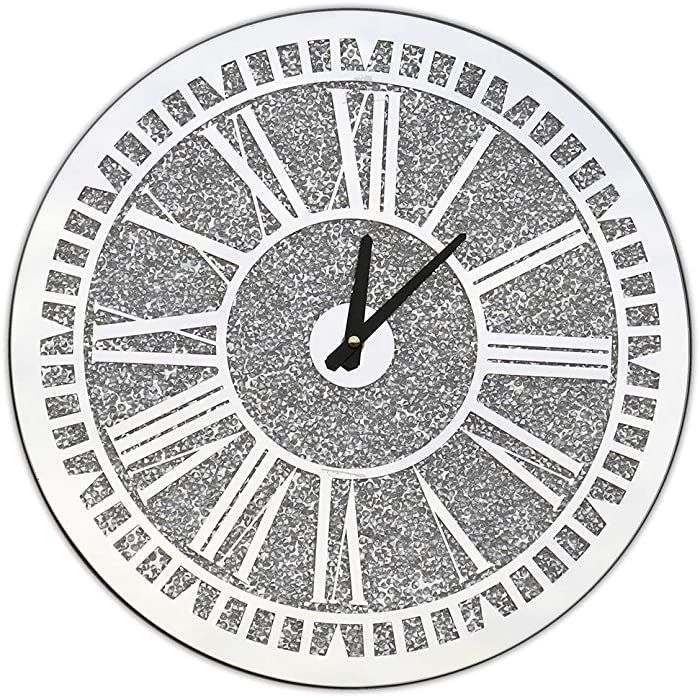 qmdecor Crystal Sparkle Twinkle Bling Round Crush Diamond Mirrored Wall Clock for Wall Decoration Silver Mirror Home Décor. AA Battery is not Included.