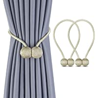 1 Pair Magnetic Curtain Tiebacks Magnetic Curtain Straps Strong Magnetic Curtain Buckle for Home Office, Beige