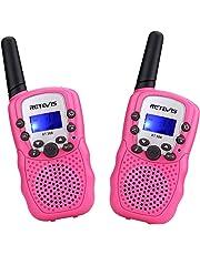 Retevis RT388 Kids Walkie Talkies PMR446 8 Channels Pink Walkie Talkie Girls Flashlight VOX 10 Call Tones Children Walkie Talkies Toys Gifts for Kids (Pink,1 Pair)
