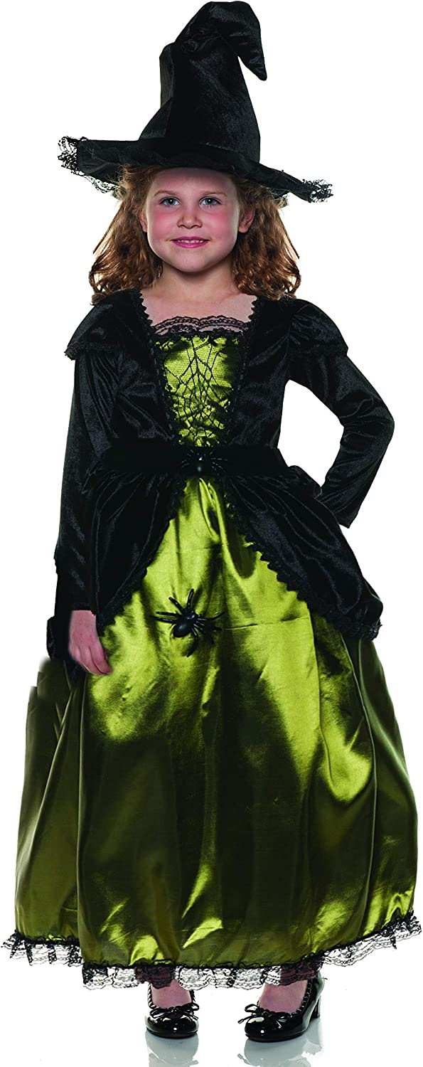 UNDERWRAPS Baby Little Girls Spider Witch Costume and Matching Hat Green Large
