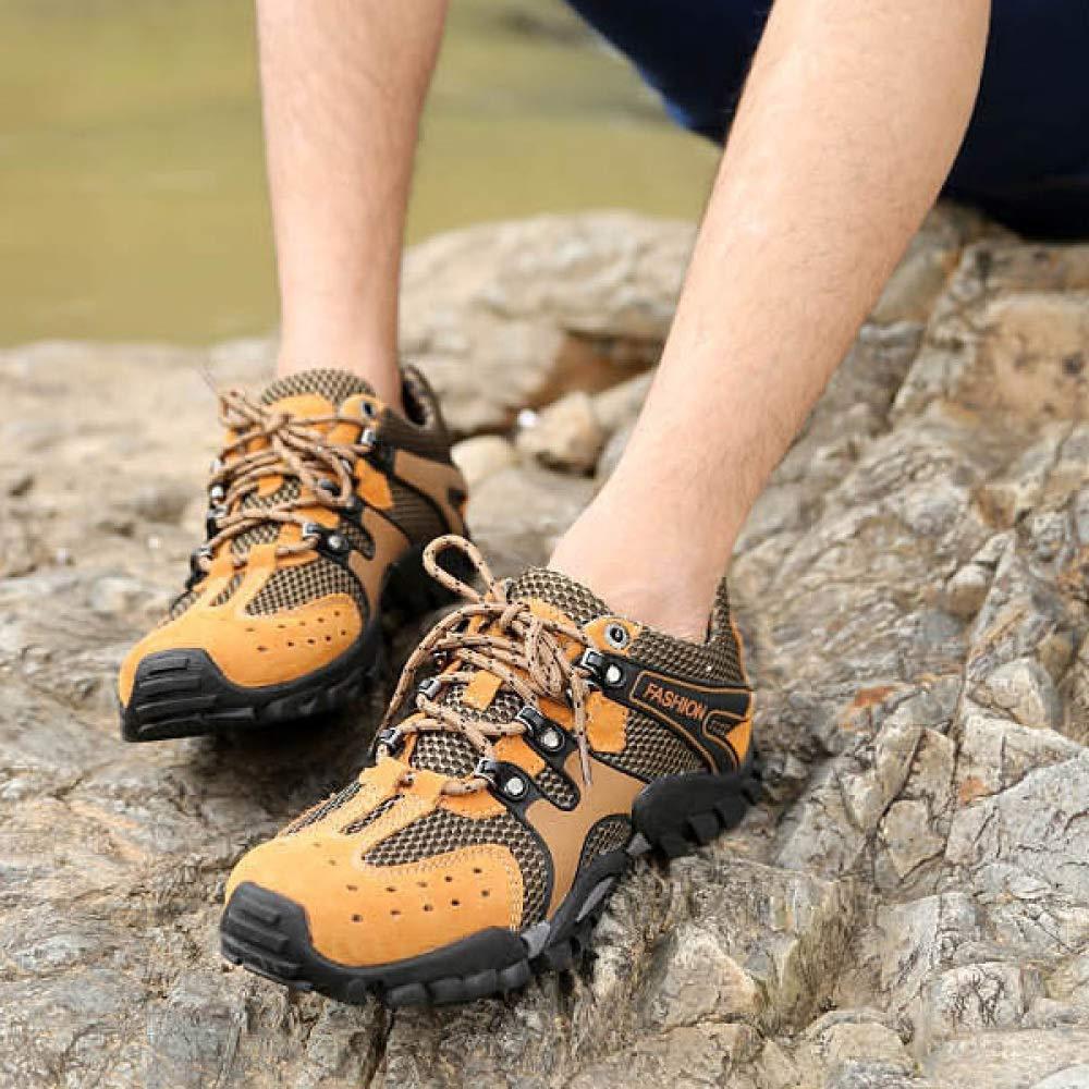 HGDR Männer Draussen Wanderschuhe Leder Leder Leder Mesh Atmungsaktive Laufschuhe Casual Sportschuhe Wandern Klettern Turnschuhe f39e04