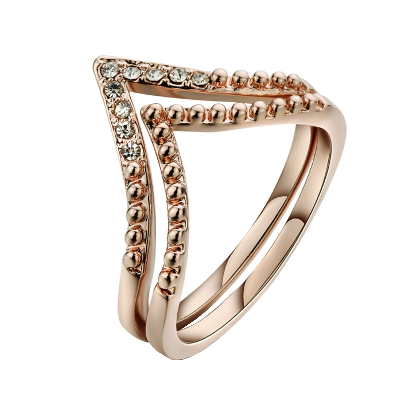 Rose Gold Plated Simple Two V Shape Cubic Zircon Stackable Ring Fashion Jewelry BaiLing Fashion