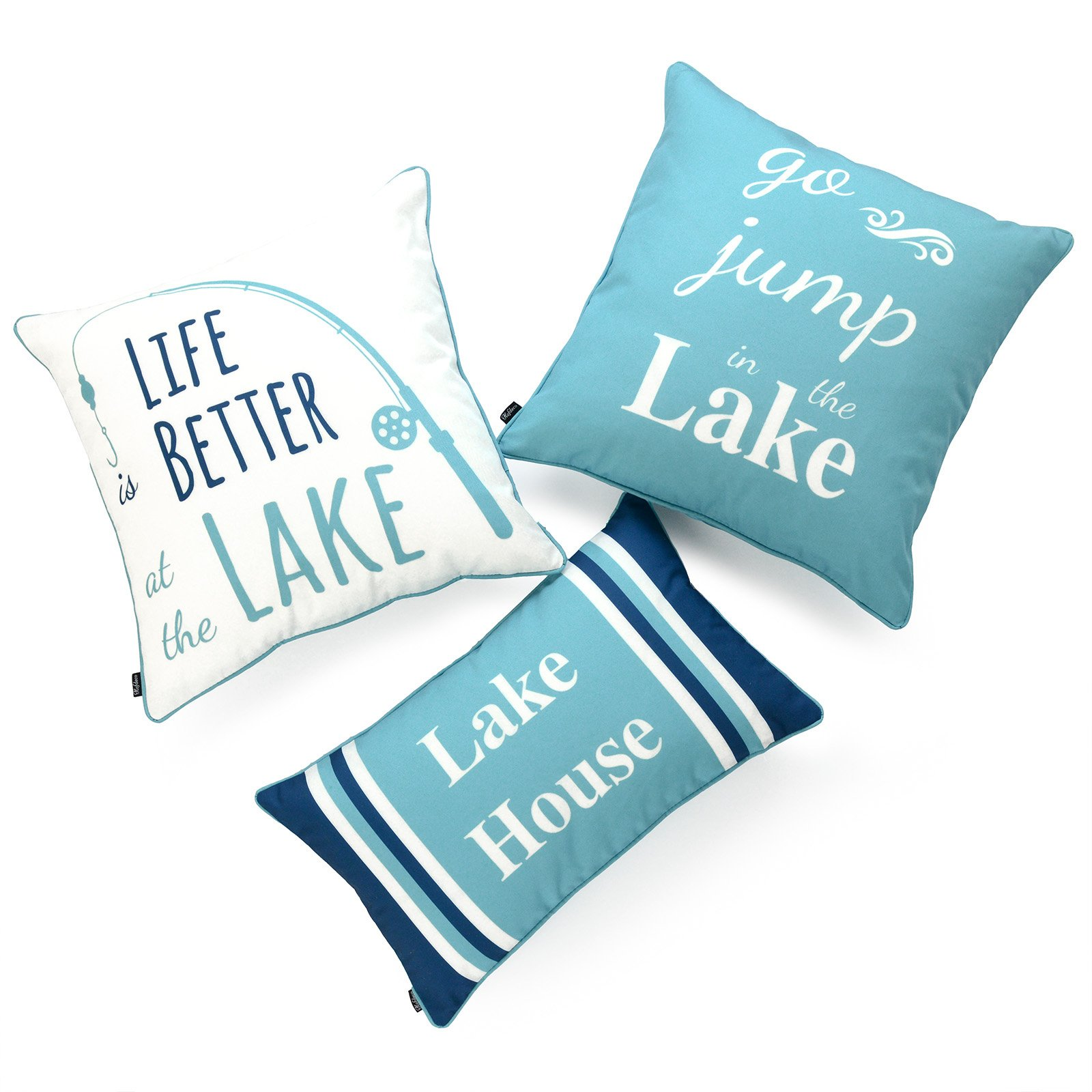 Hofdeco Lake House Indoor Outdoor Pillow Cover ONLY, Water Resistant for Patio Lounge Sofa, Aqua Navy White Life Better Go Jump in Lake, 18''x18'' 12''x20'', Set of 3