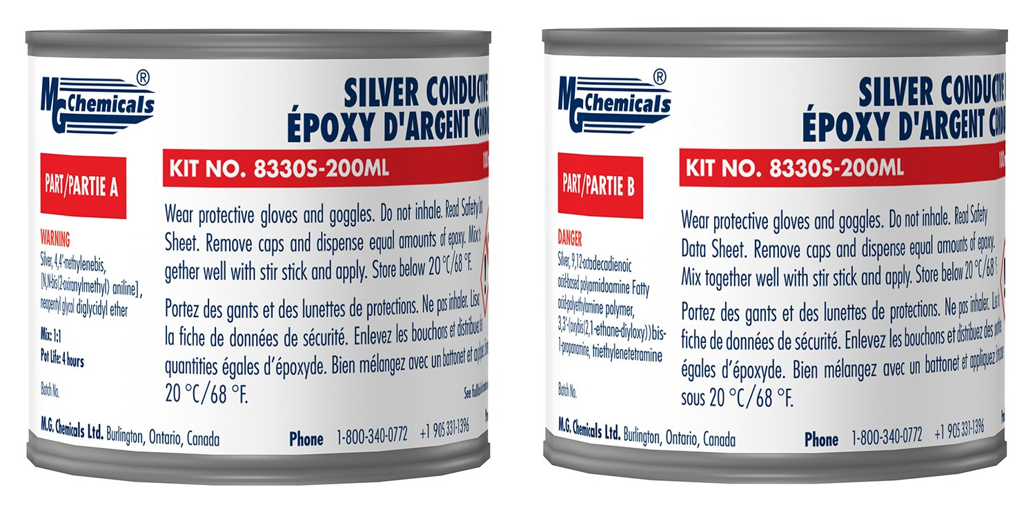 MG Chemicals Silver Epoxy Adhesive, Extreme Conductivity, 4 hr. working time, 692 g, 2-Part Epoxy Kit