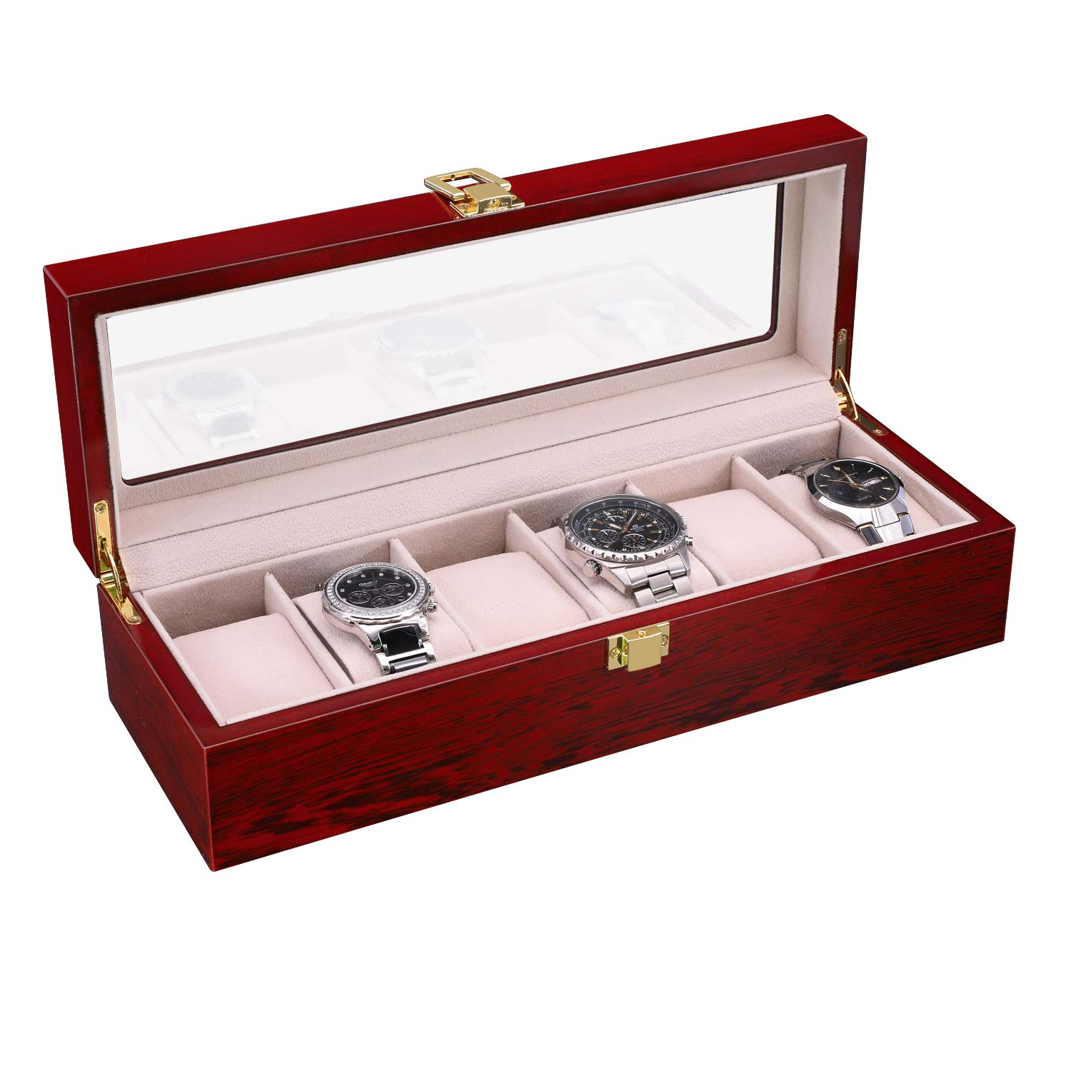 SAVORI Watches Box Luxury 6 Slots Mens Watch Case Cherry Piano Lacquer Wood Watches Collection Superior Metal Buckle with Soft Removable Velvet Pillows - Red