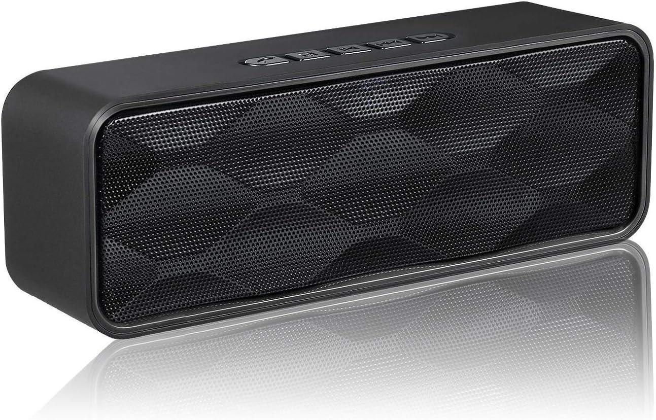 Aigoss Altavoz Bluetooth Inalámbrico Portátil Audio HD y Graves Mejorados, Altavoz de Doble Controlador Integrado, Bluetooth 4.2, Llamadas Manos Libres, Radio FM y Ranura para TF, Negro