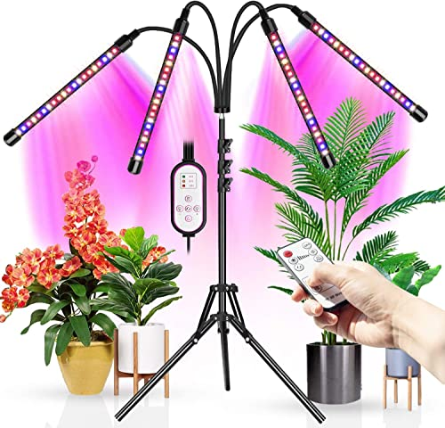 Upgraded Wolezek 4-Head LED Grow Light with Tripod Stand for Indoor Plants, 80 LED Full Spectrum Floor Grow Lamp with Dual Controllers, 4 8 12H Timer Tripod Adjustable 11-63 inch