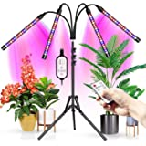 Upgraded Wolezek 4-Head LED Grow Light with Tripod Stand for Indoor Plants, 80 LED Full Spectrum Floor Grow Lamp with Dual Co