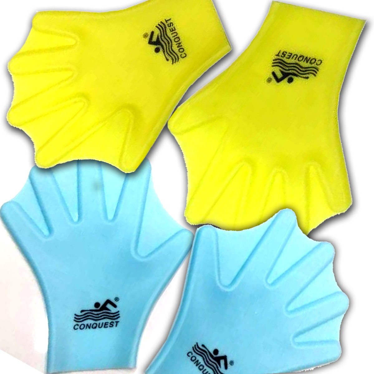Swimming Dive Hand Paddles Soft Silicone Webbed Gloves Swim Aquatic Training Accessories 2 PCS for Adult (YELLOW) by VERISA