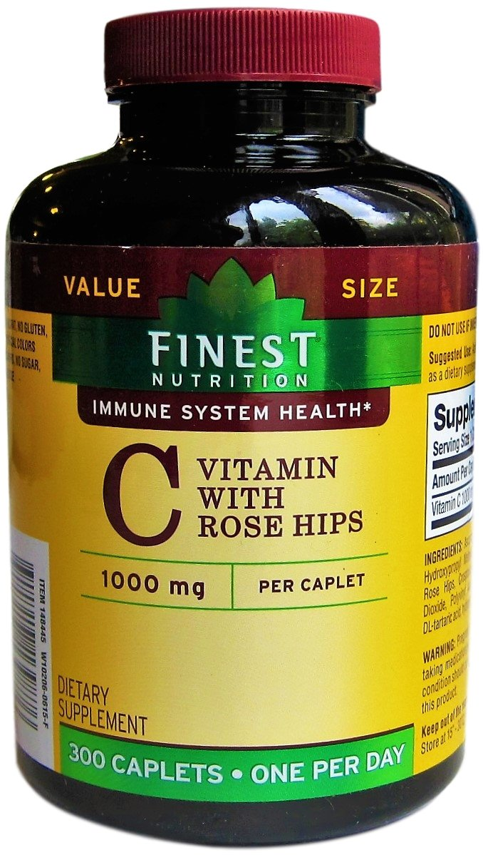 Finest Nutrition - Immune System Health - Vitamin C with Rose Hips - 300 Caplets