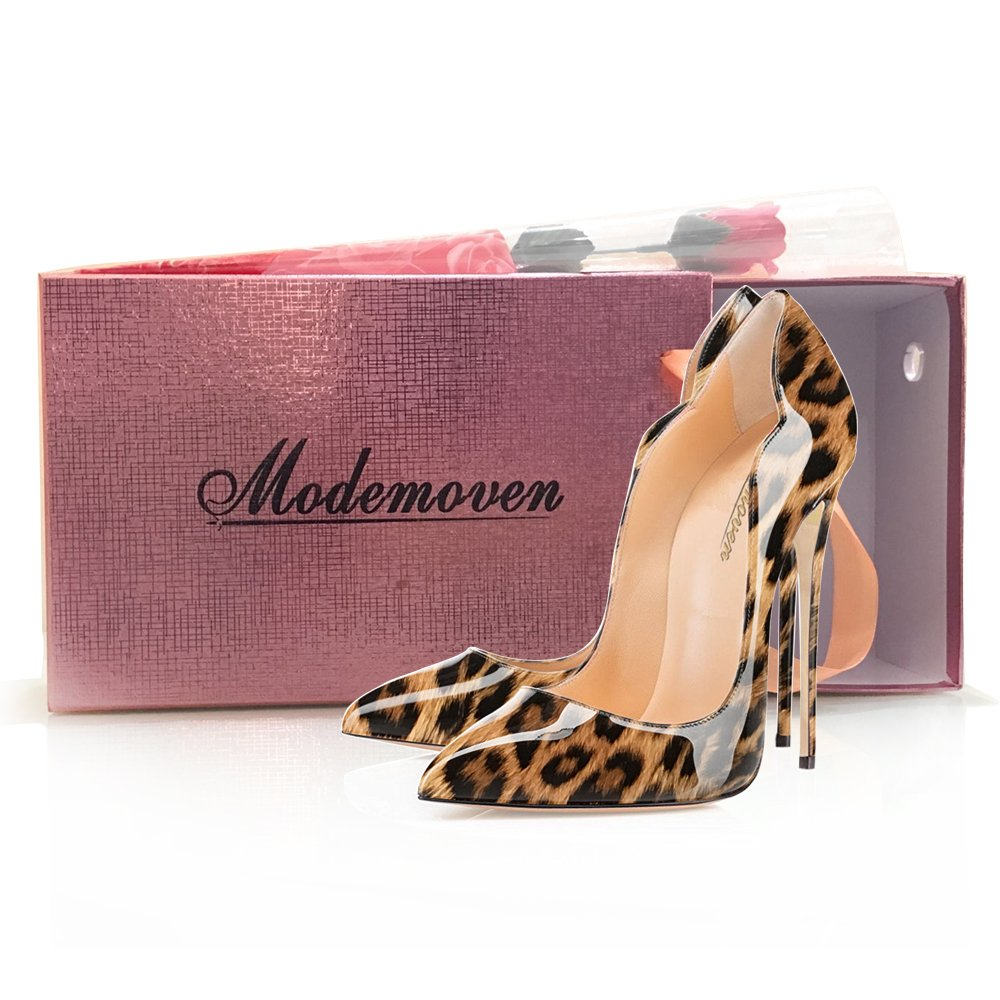 Modemoven Women's Sexy Point Toe High Heels,Patent Leather Pumps,Wedding Dress Shoes,Cute Evening Stilettos B0725QYF3T 7.5 B(M) US|Brown Leopard