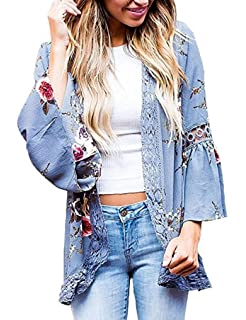 Womens Floral Loose Bell Sleeve Kimono Cardigan Lace Patchwork Cover Up  Blouse Top 61a645b2b