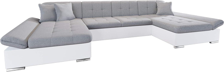 Mirjan24 Alia - Sofá esquinero con reposabrazos regulables, 2 cajones y función de dormir, forma de U, sofá esquinero del fabricante, sofá sofá salón