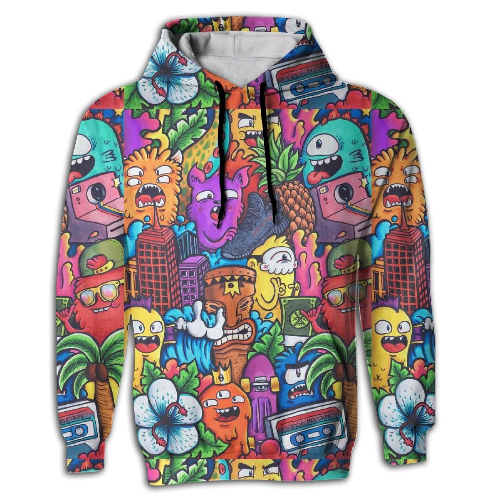 FUSALIN Think and DesignUnisex 3D Printed Sweatshirt Casual Pullover Hoodie With Big Pockets