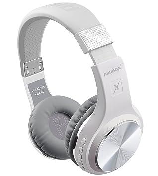Riwbox XBT-80 sobre la oreja con micrófono, auriculares inalámbricos y con cable para PC/teléfonos celulares/TV /Ipad (plata blanca)
