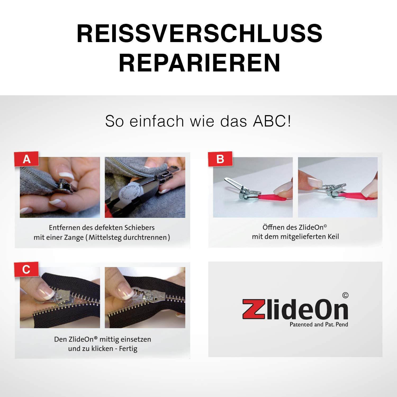 Kunststoff ZlideOn Zipper 8B Schwarz f/ür Rei/ßverschluss in Metall u