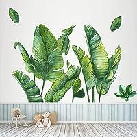 Papel pintado de hojas de plátano verde, diseño de hojas tropicales de hojas de árbol gigantes extraíbles, adhesivo…