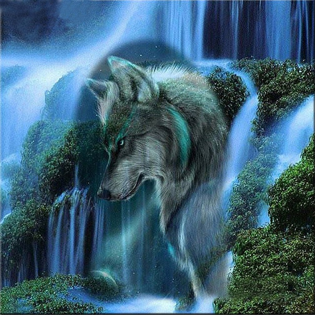 21secret 5D Diamond Waterfall Landscape Wolf Animal Handmade DIY Painting Cross Stitch Home Decor Embroidery Kit