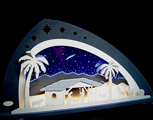 3d Led Lichterbogen Plexiglas Schwibbogen Bethlehem Christi Geburt 66 Cm Amazon De Kuche Haushalt