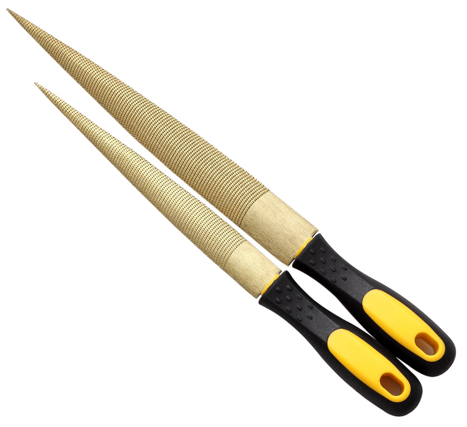 """NKTM 8"""" and 10"""" Golden Tapered Wood Rasp Bastard File with Rubber Handle in Gift Bag for Carving 2 Pack"""