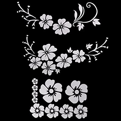 GraceMe Decal Window Sticker & Decal Sticker with Daisy Rabbit for Car Truck Funny Scratch Cover with TREX 4 Types in 1 (Hawaiian Flower 1 - White): Automotive