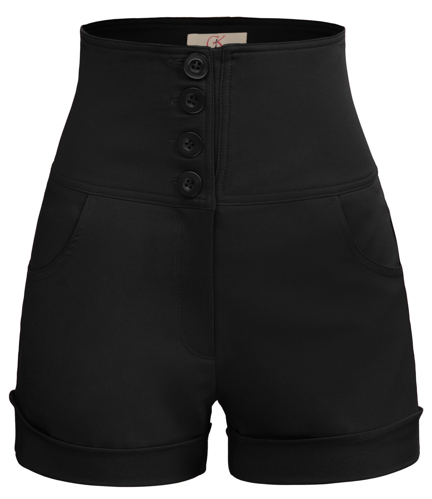 GRACE KARIN Women's Retro High Waist Sailor Cuffed Shorts Size 2XL Black