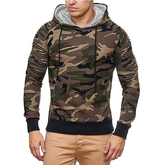 OSYARD Herren Camouflage Kapuzenpullover, Herbst Casual