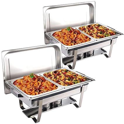 COSTWAY 2 x Chafing Dish Calentador de Alimentos Bandeja Calienta Pplatos Contenedor de Calor Acero Inoxidable